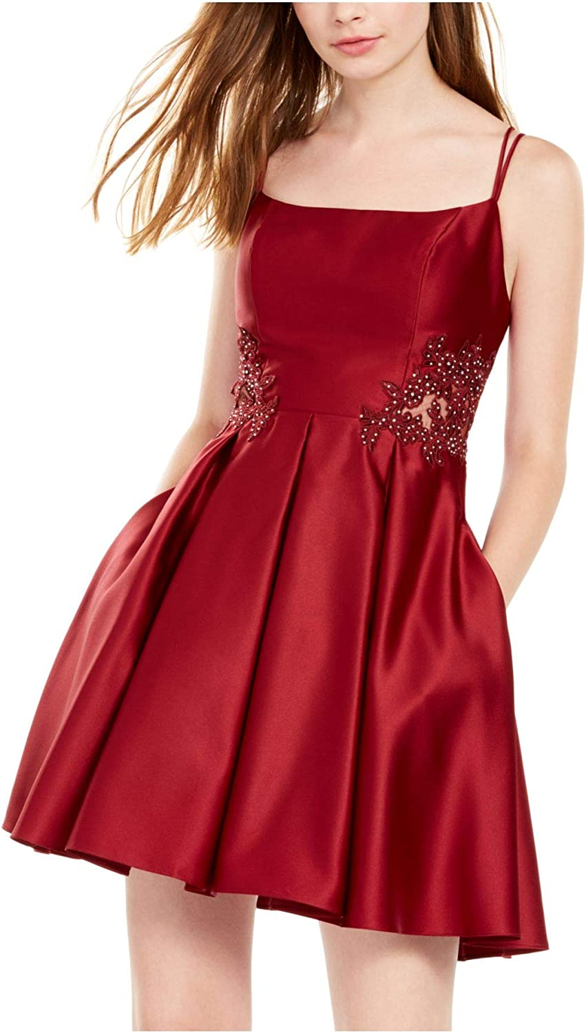 Blondie Womens Burgundy Spaghetti Strap Square Neck Short Fit + Flare Cocktail Dress Size 13
