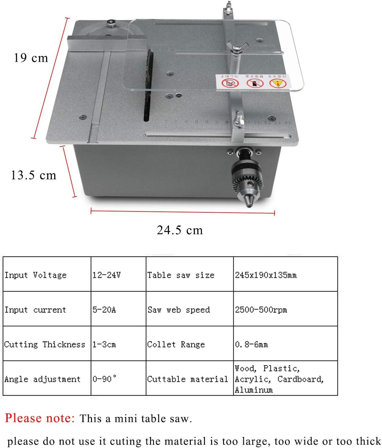 kann L/ängs- und Winkelschnitte mit Winkelf/ührung ausf/ühren DIY-Modellschneidemaschine Tischkreiss/äge einstellbare Mini-Tischkreiss/äge mit 895 Spindelmotor DC12V-24V Hubs/äge 7-stufige Silber