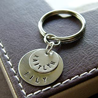 Personalized Key Chain with Two Layered Name Charms - Custom Hand Stamped Sterling Silver Keychain