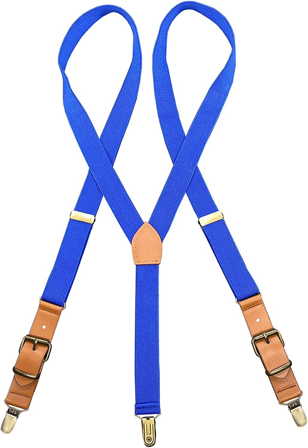 JTCMOJS Adults Leather Suspenders Y-Back Tuxedo Braces With Bronze Non-slip Clip
