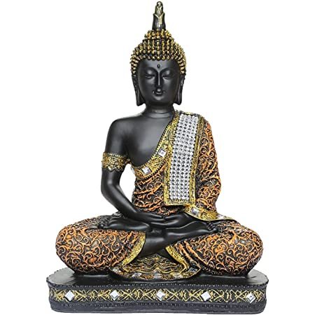 Global Grabbers Sitting Buddha Idol Statue Showpiece for Home Decoration and Gifting (Orange and Black), Plastic, Standard, 1 piece