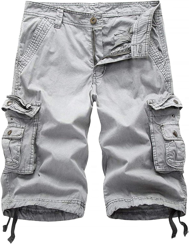 HFStorry Men's Comfy Natural Waist Straight Leg Knee-Length Bermuda Work Cargo Shorts Grey
