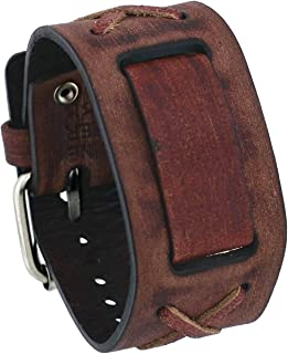 Nemesis #BFXB Brown Criss Cross Wide Leather Cuff Watch Wrist Band