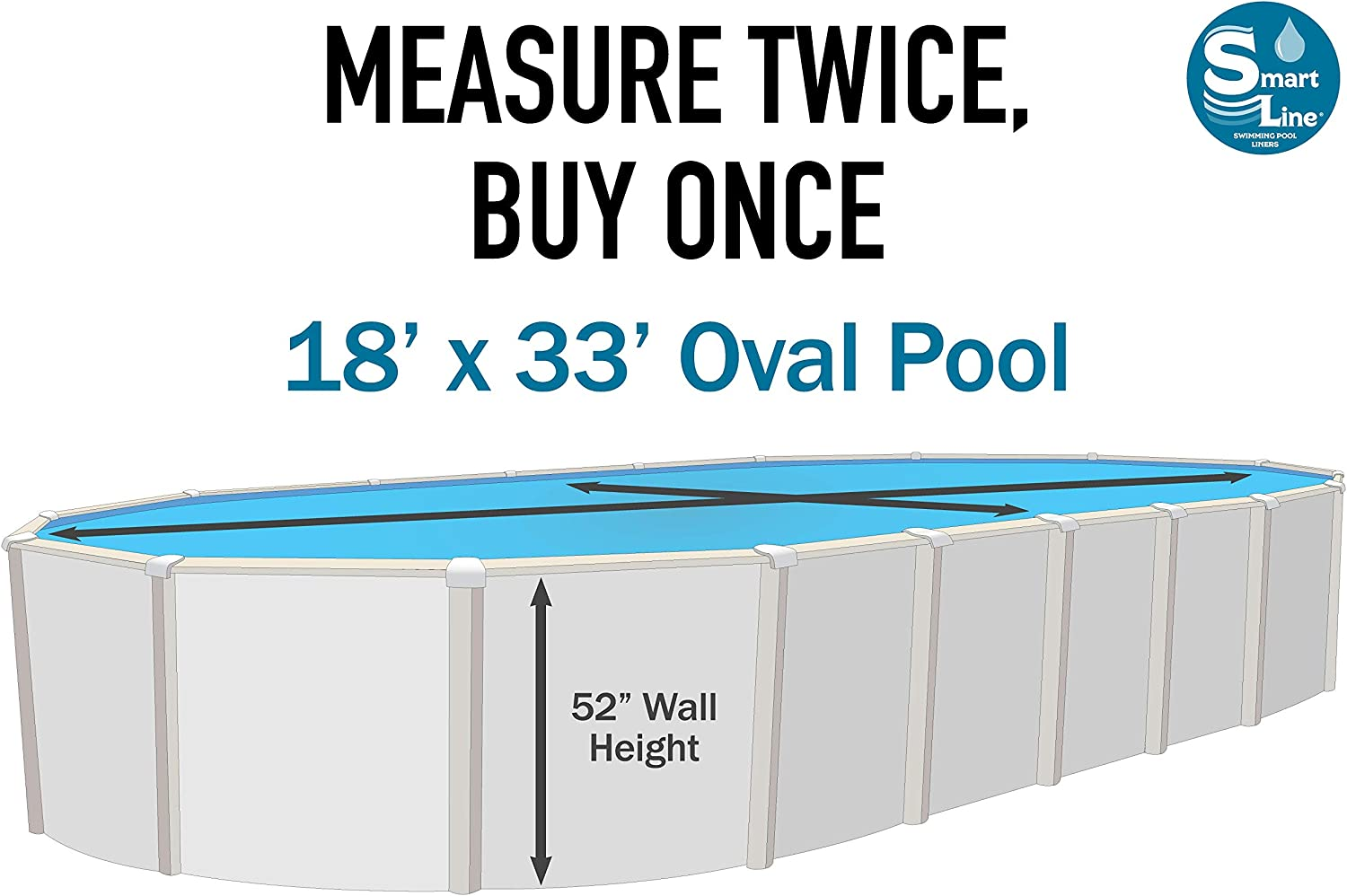 Smartline Tuscan 15-Foot Round Pool Liner UniBead Style 25 Gauge Virgin Vinyl Material Universal Gasket Kit Included 52-Inch Wall Height Designed for Steel Sided Above-Ground Swimming Pools