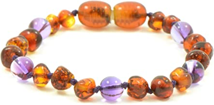 Baltic Amber Teething Bracelet/Anklet {0056} Mixed with Amethyst Beads - 5.5 inches - Amber Jewelry - Hand-Made from Natural Baltic Amber Beads (5.5 inches (14 cm), Cognac/Amethyst)