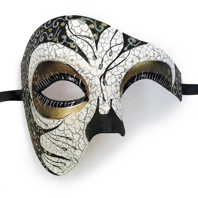 開梱フルーツ野菜狂乱ブラックでゴールド裏地Charming Venetian Half Face Phantomヴィンテージデザインマスク