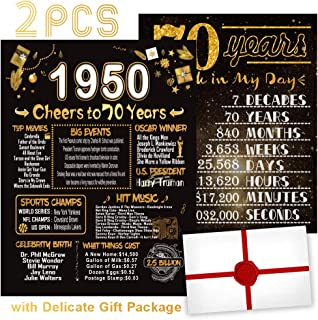 2PCS 70th Birthday Decorations or Wedding Anniversary Poster Birthday Gifts Party Decorations Supplies Women Men Souvenir Cardstock 8x10 Back-in-1950 Sign [Unframed]