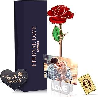 SAFETYON Rosa Placcato Oro, Rosa Dorata Eterna 24k per Moglie, Madre, Amante, Rose Artificiali con Supporto, Carta e Certi...