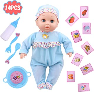 Soft Baby Doll 14 PCS Educational Toys with Sounds and Lovely Function, Kids Toy Adorable Infant Baby Doll with bottle for Newborn Babies as Best Gifts