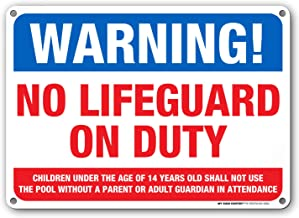 Warning No Lifeguard on Duty Sign - Swim at Your Own Risk - 10