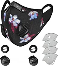 BRINCH Face MaskReusable,Washable Cover Filter Unisex with 2 Replaceable Valves and 4 Replaceable Filters Included