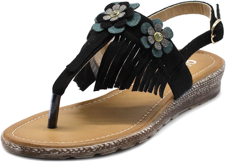 Ollio Women's shoes Fringe Floral T-Strap Zori Flat Sandal