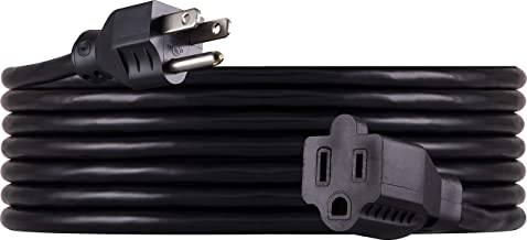 GE 15 ft Extension Cord, Outdoor, Heavy Duty, Double Insulated Cord, Ideal for Outdoor Lighting, Long Life, UL Listed, Black, 36824