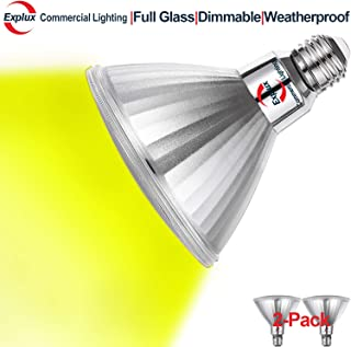 Explux Yellow Color PAR38 LED Flood Light Bulbs, Dimmable, Classic Full Glass, Indoor/Outdoor, 120W Equivalent, 2-Pack