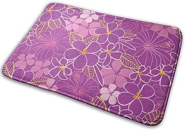 """Purple and Pink Tropical Flowers Indoor Doormat Front Back Door Mat,23.6""""x15.8"""" Mat Non Slip Large Door Rug"""