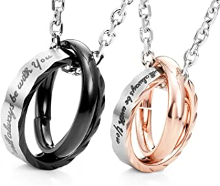 Urban Jewelry His & Hers Couples Engraved Double Ring Pendant Necklace