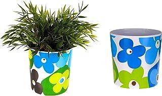 Saksı Mavi Çiçekli Melamin Çiçeklik