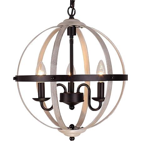 VILUXY Farmhouse Wood Chandelier Geometric Lantern Pendant Light 4-Light for Indoor Kitchen Island Dining Living Room Foyer
