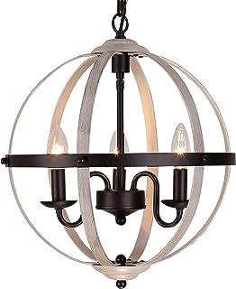 Sponsored Ad - Q&S Farmhouse Light Fixture Chandeliers, Vintage Pendant Lights ,ORB and Oak White Finish,Globe Rustic Chan...