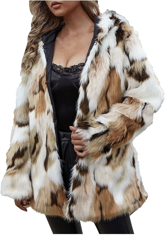 Women's Fuzzy Faux Fur Cardigan Long Sleeve Shirt Tops Fashion Party Coats Teen Outdoor Work Office Jacket Winter Coat