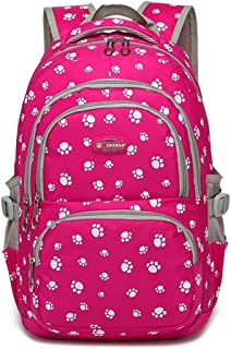 Fanci Students Candy Color School Bag Lovely Dog Paw or Butterfly Prints Large Capacity Backpack