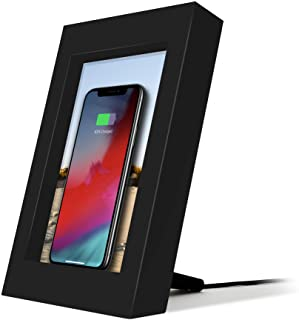 Twelve South 12-1809 PowerPic | Picture Frame Stand with integrated 10W Qi Charger for iPhone/Wireless Charging Smart Phon...