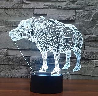 Lámpara De Ilusión 3D Forma De Vaca Gradiente De Colores Led Visión Usb Alimentado Por Batería Decoración Del Hogar Juguetes Para Niños Regalo Luz Nocturna