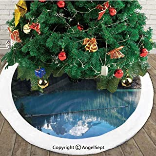 Lake in Northern Canada with Slim Trees and Snowy Fro Mountain Novelty Photo, Christmas Tree Skirt,Blue White Green,30 inches,New Year Christmas Party Holiday Decoration
