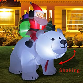 GOOCHI 6 Foot Christmas Inflatables Outdoor Yard Decoration Santa on Bear Inflatable Bear with Santa and Gifts Lighted for Home