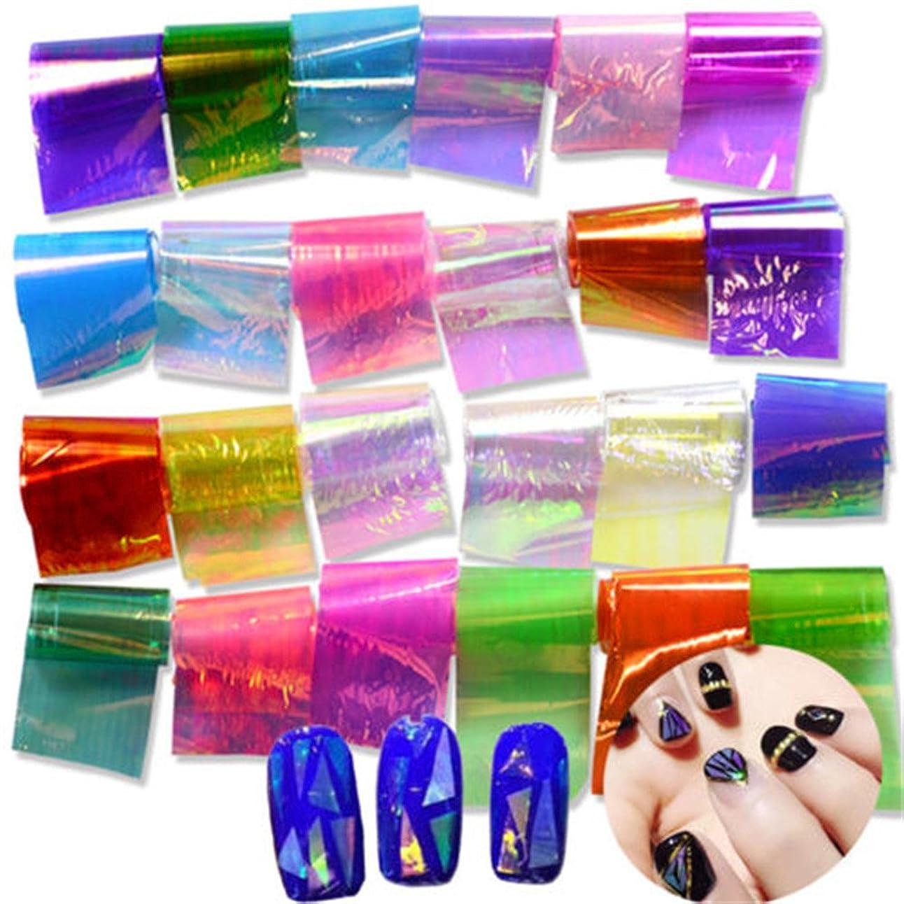 付属品するだろう魔術Artlalic 20枚の3Dホログラフィー壊れたガラスフォイル指のネイルアートミラーステッカー爪のためのステンシルデカールDIYのマニキュア