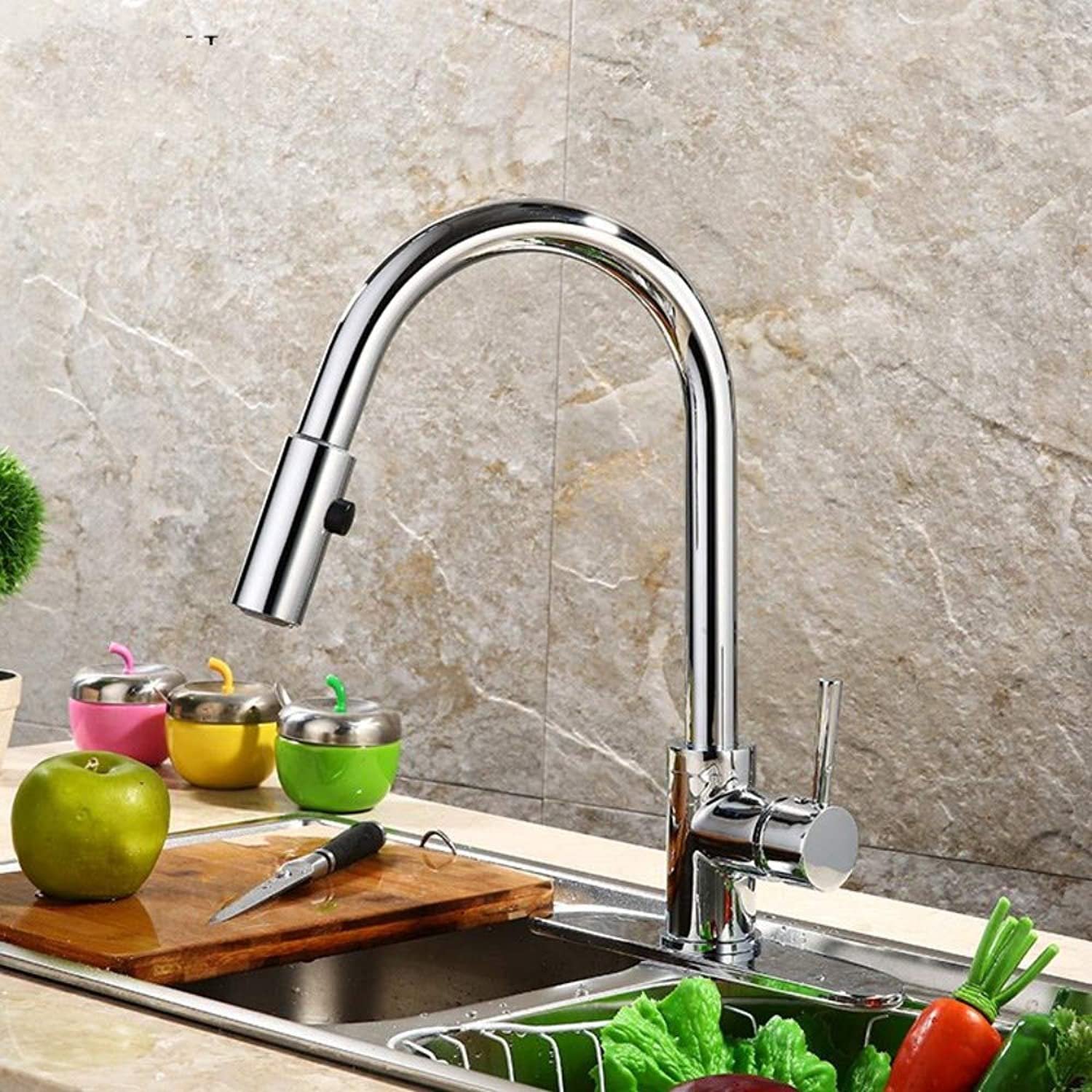 redOOY Taps Faucet Kitchen Hot And Cold Water Faucet Pull The Sink Faucet Into The Wall Mixer