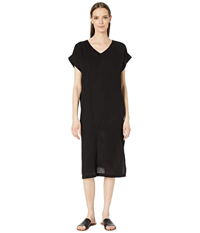 Eileen Fisher Organic Cotton Lofty Gauze V-Neck Dress (Black) Women