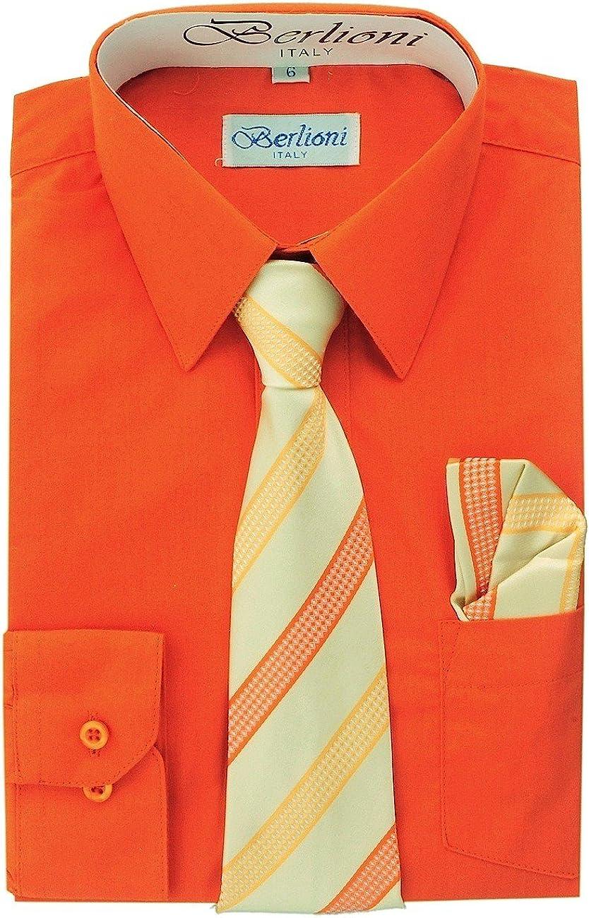 Boy's Dress Shirt, Necktie, and Hanky Set - Orange, Size