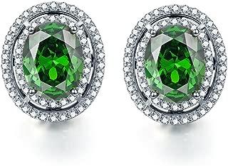 925 Sterling Silver Created Gemstone Women's Halo Stud Earrings (1.89Ct, Oval 8x6mm)