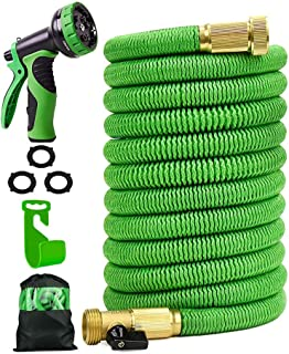 25 ft Garden Hose,Latex Core 3/4 Solid Brass Fittings,Durable Lightweight Expandable Water Hose,9-Mode High Pressure Spray Nozzles,Free Storage Bag + Hook
