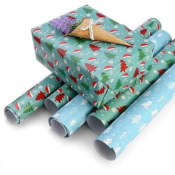 Faburo - Lote de 10 rollos de papel para regalo de Navidad: Amazon.es: Oficina y papelería
