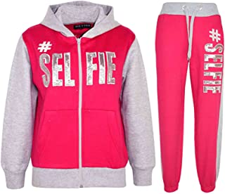 Kids Girls Tracksuit #Selfie Print Hoodie & Bottom Jog Suit New Age 7-13 Years