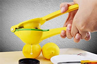 ONYADD Stainless Steel Lemon Squeezer Citrus Juicer- Manual Citrus Press- Juicer with Silicone Handle- Heavy Duty Easy To Clean, Yellow