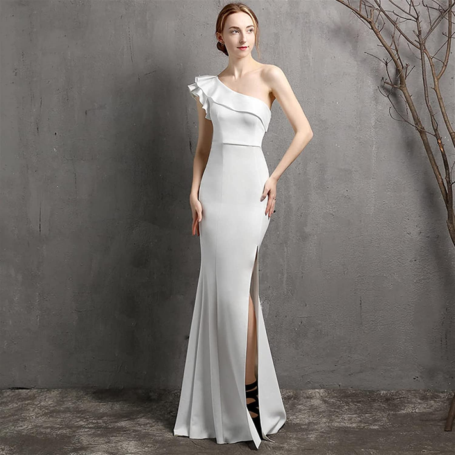Uongfi Wedding Dresses for Bride One Shoulder Evening Party Dres