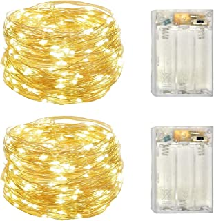 2 Pack Battery Operated Led Lights,Mini Led Fairy Lights with Timer 6Hours on/18Hours off for Wedding Christmas Party Decorations,50 Leds 18Feet Silver Wire (Warm White)
