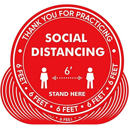 Social Distancing Sign 10 Pack Keep 6 Feet Apart Safety Social Distancing Floor Decals Red 11 inch Round Anti Slip Floor Marker Stickers