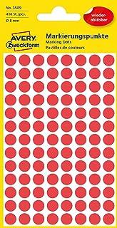 AVERY Zweckform 3589 selbstklebende Markierungspunkte Durchmesser 8 mm, 416 ablösbare Klebepunkte auf 4 Bogen, runde Aufkleber für Kalender, Planer und zum Basteln, Papier, matt rot