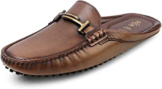tresmode Mens Leather Buckled Brown Mules