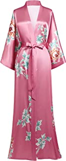 BABEYOND Damen Morgenmantel Maxi Lang Satin Sommer Kimono Strandkleid Blumen Muster Gedruckt Strickjacke Kimono Bademantel Damen Lange Robe Blumen Schlafmantel Girl Pajama Party