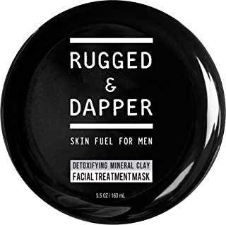 RUGGED & DAPPER Detox Mineral Clay Facial Mask | Natural Acne & Age Defense Treatment for Men- 5.5 Oz