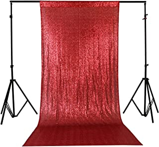 TRLYC 4Ft7Ft Photo Booth Backdrop Red Sparkly Wedding and Party Curtain