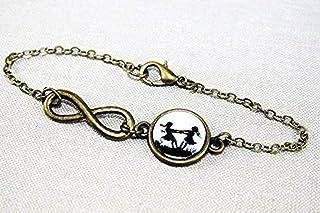 Große und kleine Schwester - Freundschafts Scherenschnitt Infinity Armband bronze,16-17cm, handmade, ein süßes Geschenk fü...