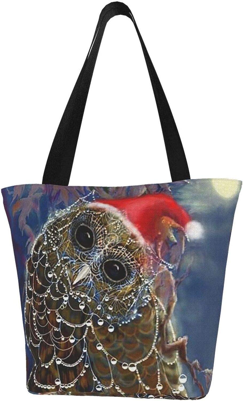 Christmas Owl Art Night Themed Printed Women Canvas Handbag Zipper Shoulder Bag Work Booksbag Tote Purse Leisure Hobo Bag For Shopping
