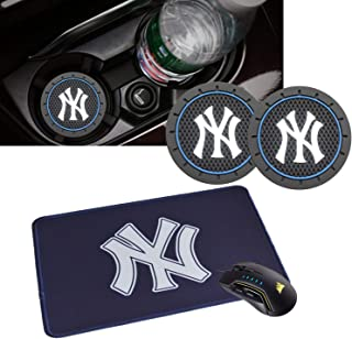 2PCS 2.75 Inch Tough Yankees Logo Vehicle Travel Auto Cup Holder Insert Anti Slip Coaster Can and 1pcs Yankees Logo Giants Neoprene Mouse Pad for MLB Yankees Fans.