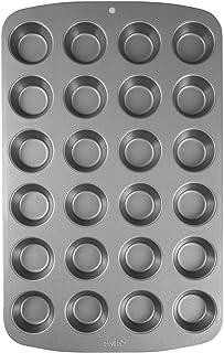 PME CSB111 Moule Anti-adhérent en Acier au Carbone pour 24 Mini Muffins, Inoxydable, Silver, 39,4 x 24,6 x 2,1 cm